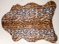 Faux Fur Fabric Rug - White Leopard